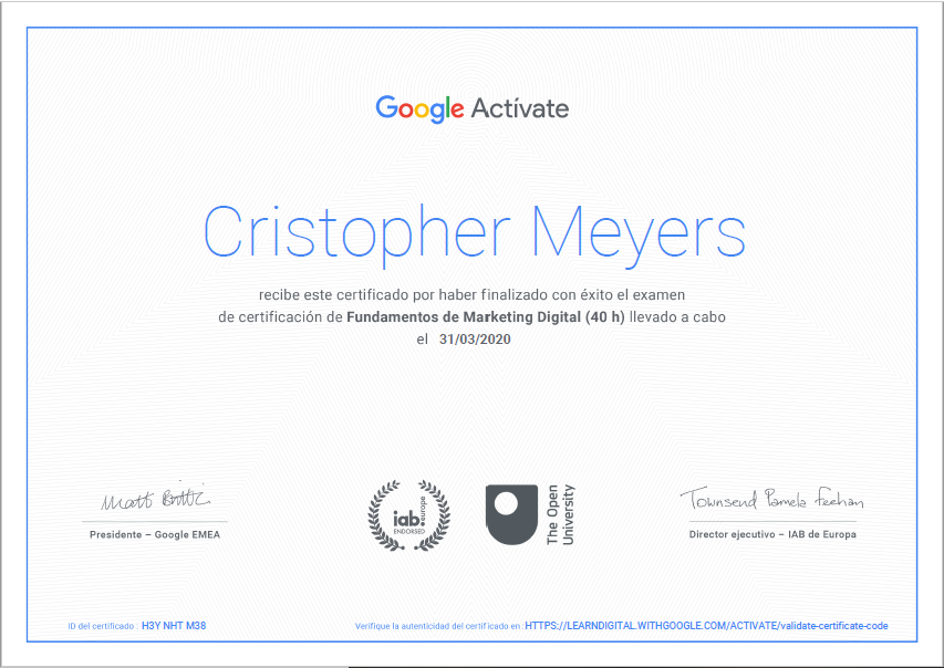 Certificado fundamentos del marketing digital  Cristopher Meyers