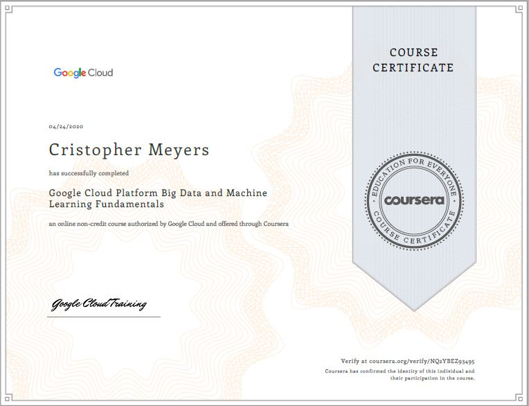 Certificado Google Big data y Machine Learning Cristopher